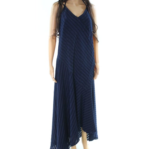 Maggy London Navy Blue Womens Size 14 V-Neck Tie Neck Maxi Dress