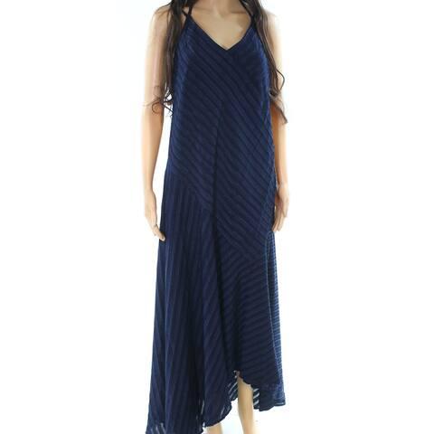 Maggy London Navy Blue Womens Size 14 V-Neck Tie Neck Maxi Dress