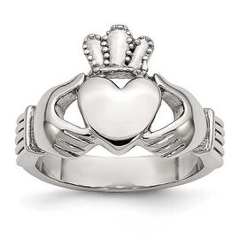 Chisel Stainless Steel Polished Claddagh Ring (4 mm)