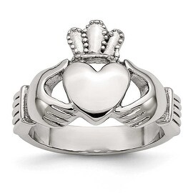 Chisel Stainless Steel Polished Claddagh Ring (4 mm) (5 options available)