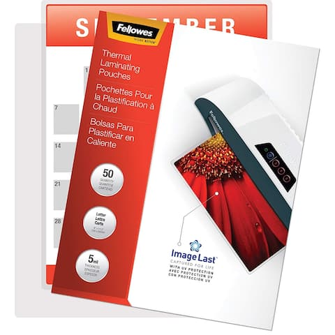Fellowes Inc. 5204002 Fellowes Glossy Pouches - 5 mil, Letter, 50 pack - Sheet Size Supported: Letter - Laminating Pouch/Sheet