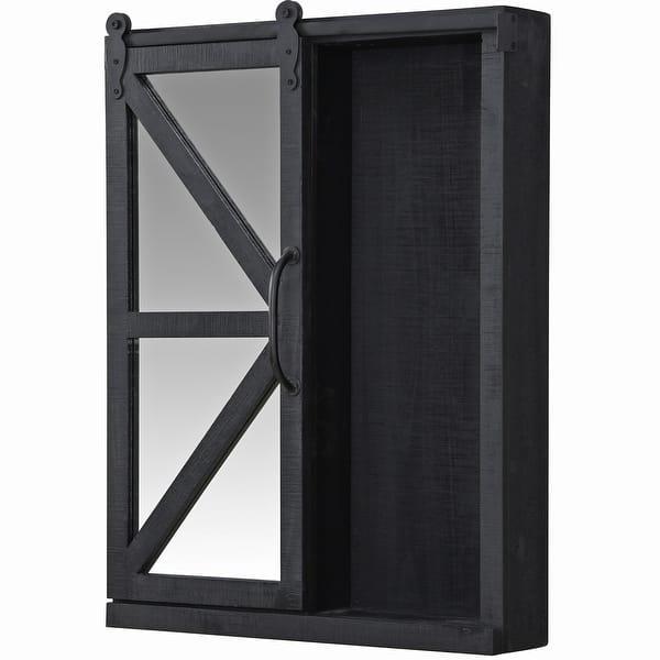 Black American Designed 21 x 5.5 x 28 inches FirsTime /& Co./® Black Winona Farmhouse Barn Door Cabinet Mirror