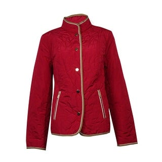 Charter Club Women's Hexagon Quilted Snap Button Coat - Cardinal Red