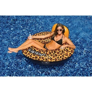 "40"" Water Sports Wildthings Inflatable Cheetah Print Swimming Pool Float - brown"