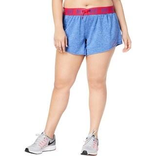 Nike Womens Plus Shorts Dri-Fit Logo - Royal Heather Wild Cherry