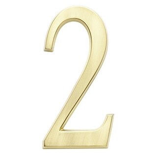 """Whitehall 4.75"""" Wall Hanging Number 2 (Satin Brass)"""