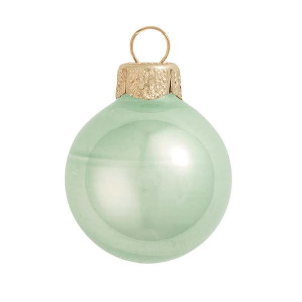 "8ct Pearl Shale Green Glass Ball Christmas Ornaments 3.25"" (80mm)"