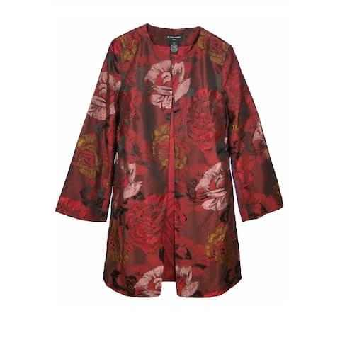 Sutton Studio Women's Red Floral Jacquard Jacket Topper - Multi