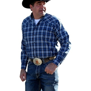 Miller Ranch Western Shirt Mens L/S Plaid Snap Pockets Navy DTW2201063