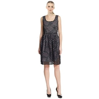 Carven Cotton Lattice Perforated Floral Cocktail Day Dress - 6