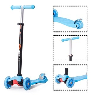 Goplus Aluminum 3 LED Light Up Wheel Kids Kick Scooter Adjustable Height For Toddlers - Blue