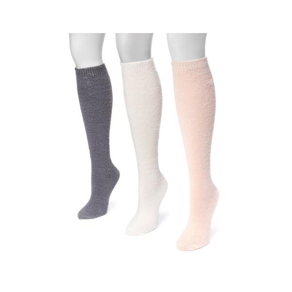 Muk Luks Socks Womens Fuzzy Yarn Knee High 3 pack One Size - One size