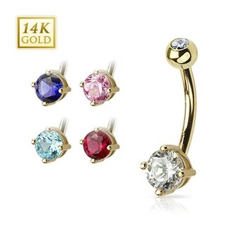"""14 Karat Solid Yellow Gold Navel Belly Button Ring with Prong-Set Round CZ - 14GA 3/8"""" Long"""