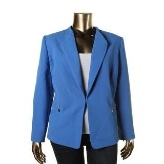Tahari ASL Womens Plus Luis Textured Hook Front Jacket - 18W