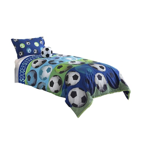 3 Piece Twin Size Comforter Set with Soccer Theme, Multicolor
