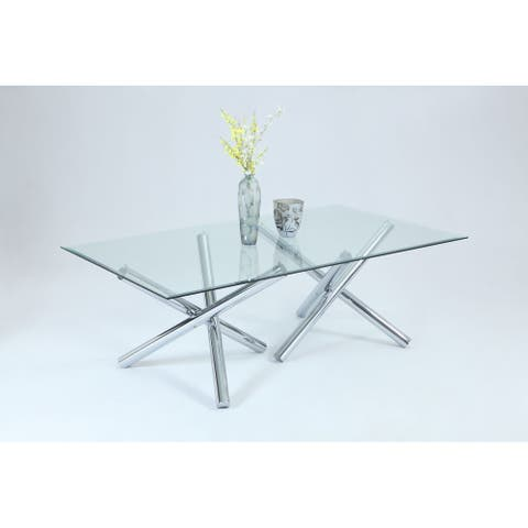 """Somette Leilany 42"""" x 72"""" Rectangular Dining Table - Stainless Steel"""