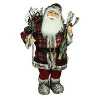 3' Alpine Chic Standing Santa Claus with Frosted Pine, Snowshoes and Skis Christmas Figure