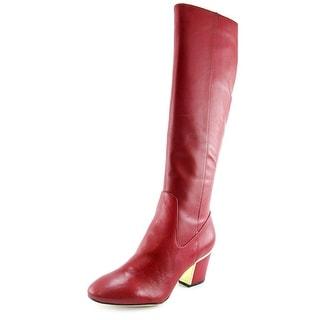 Calvin Klein Keana Round Toe Leather Knee High Boot