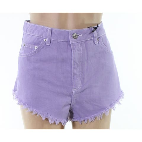 Topshop Purple Womens Size 8 Moto Kiri Frayed Hem Denim Shorts