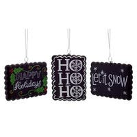 """Pack of 12 Scalloped Edge Holiday Greeting Chalkboard Christmas Ornaments 3.5""""-4.75"""" - black"""