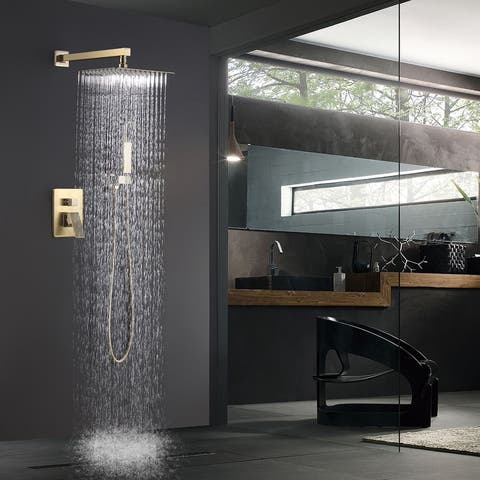 Shower System High Pressure Square Rainfall Shower Faucet, Gold