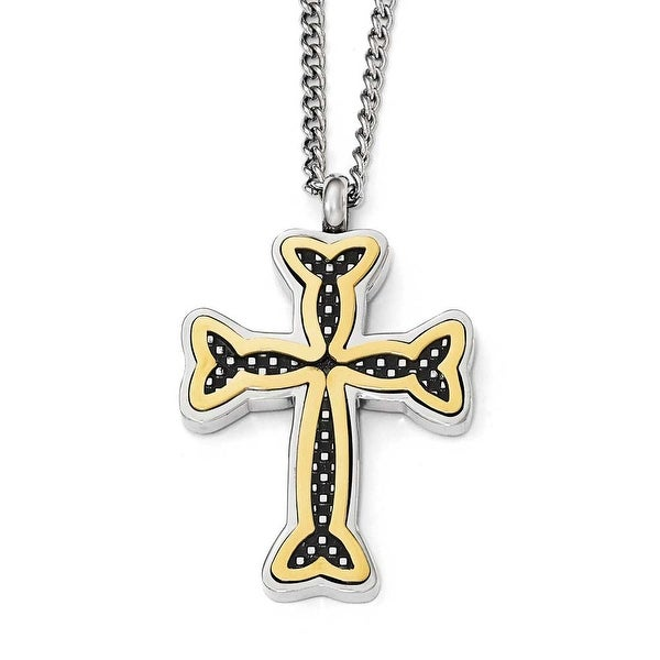 Chisel Stainless Steel Polished Black and Yellow IP-Plated Cross Necklace - 24 in