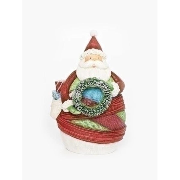 "6.5"" Vibrant Colorful Striped Yarn Wrapped Santa Claus with Wreath Christmas Figure - multi"