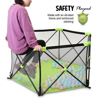 """Portable Lightweight Infant Baby  Pop 'n Play Playpen Playard with Travel Bag - 7'9"""" x 10'10"""""""