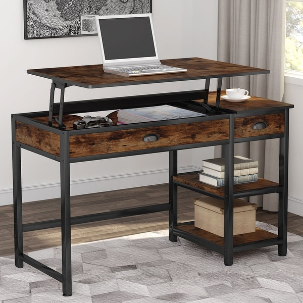"""47"""" Lift Top Computer Desk with Drawers, Height Adjustable. Opens flyout."""