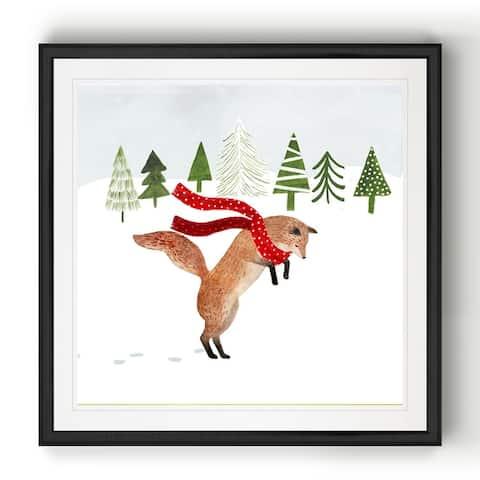 Woodland Christmas III -Black Framed Print