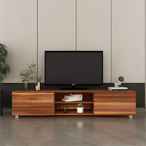 Walnut TV Stand with 2 Drawers Glass Shelves on both sides, classic