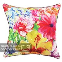 Square Floral Printed CushionCover ChezMax Linen Sham Slipover Pillowslip Pillowcase For Home Sofa Couch Bedding Chair Seat Back