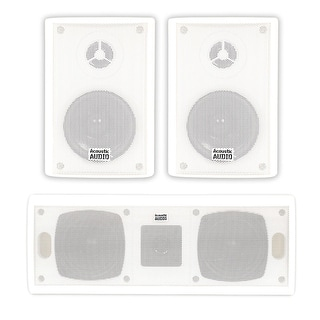 Acoustic Audio AA351W and AA40CW Indoor Speakers Home Theater 3 Speaker Set