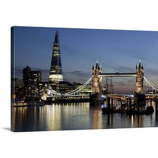 """""""The Shard stands behind the Tower Bridge with the River Thames, London, England"""" Canvas Wall Art"""
