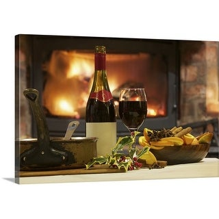 Premium Thick-Wrap Canvas entitled Mulled wine and spices at table