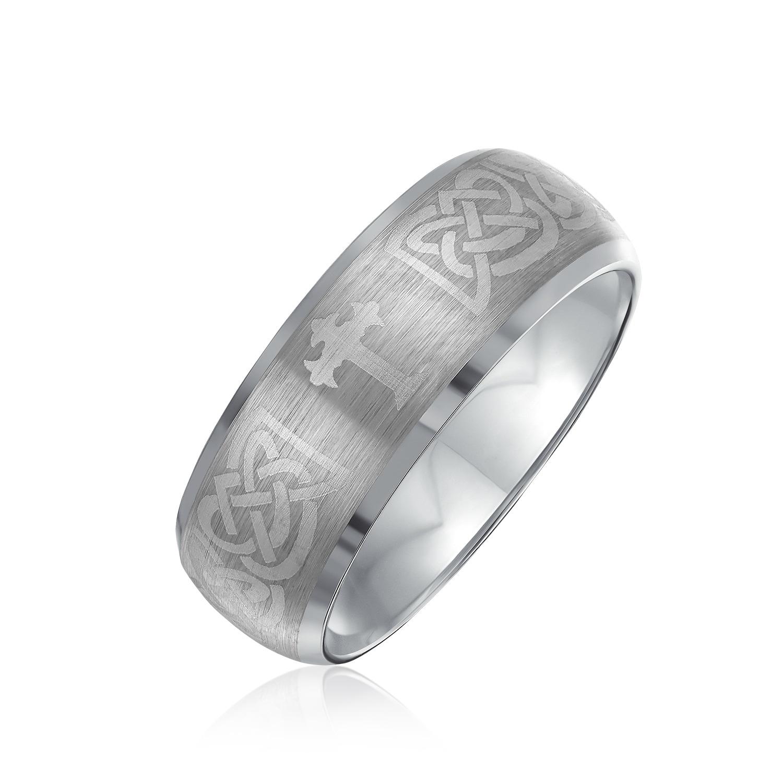 It is an image of Celtic Knot Maltase Cross Wedding Band Titanium Ring For Men Matte 30MM
