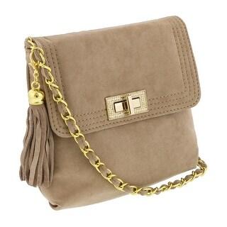 Scheilan Camel Suede Tassle Clutch/Shoulder Bag