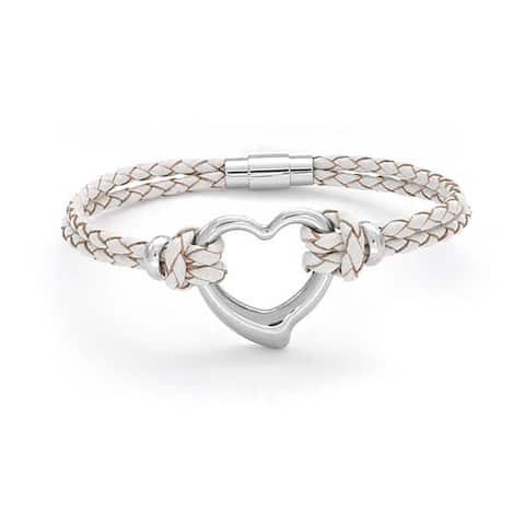 Open Heart White Woven Weave Thin Braided Cord Multi Strand Leather Bracelet For Women For Girlfriend Silver Tone Steel