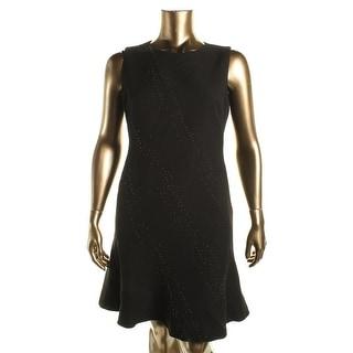 Elie Tahari Womens Harlow Embellished Sleeveless Wear to Work Dress