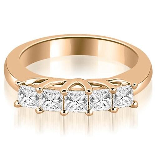 0.60 cttw. 14K Rose Gold Five Stone Princess Cut Diamond Wedding Band