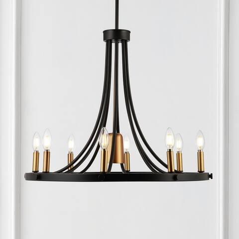"Urbanna 27"" 9-Light Adjustable Modern LED Chandelier, Black/Brass Gold"