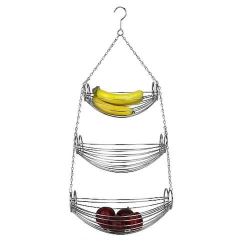 Home Basics 3-Tier Hanging Basket Hammock, Chrome, 31 Inches