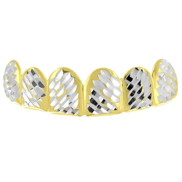 Diamond Cut Grillz Yellow Gold Finish Top