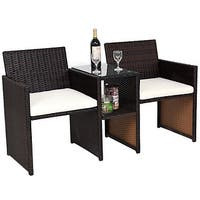 Costway Patio Rattan Loveseat Table Chairs Chat Set Seat Sofa Conversation Cushioned - Brown