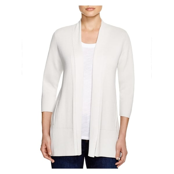 Eileen Fisher Womens Petites Cardigan Sweater Silk Knit