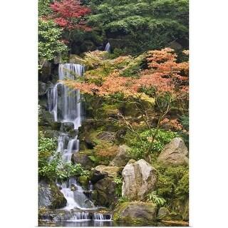 """""""USA, Oregon, Portland, Portland Japanese Garden, Waterfall in a garden"""" Poster Print"""