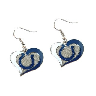 NFL Indianapolis Colts Swirl Heart Shape Dangle Logo Earring Set Charm Gift