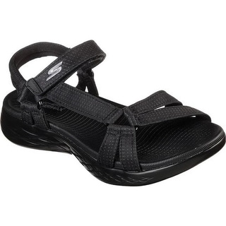 Skechers Women's On the GO 600 Brilliancy Ankle Strap Sandal Black/Black