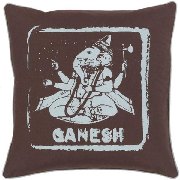 "20"" Espresso Brown and Icy Blue Ganesh Big Kid Blocks Decorative Throw Pillow"