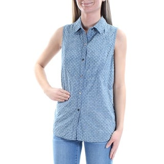 VINCE CAMUTO $79 Womens New 1023 Blue Distressed Sleeveless Button Up Top XS B+B